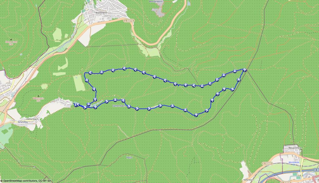 Wanderroute mit Hund - Karte Gettenbacher Weiher