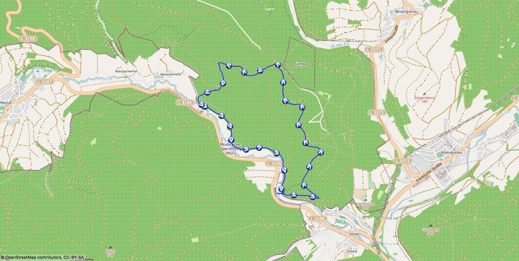 Karte - An der Jossa entlang