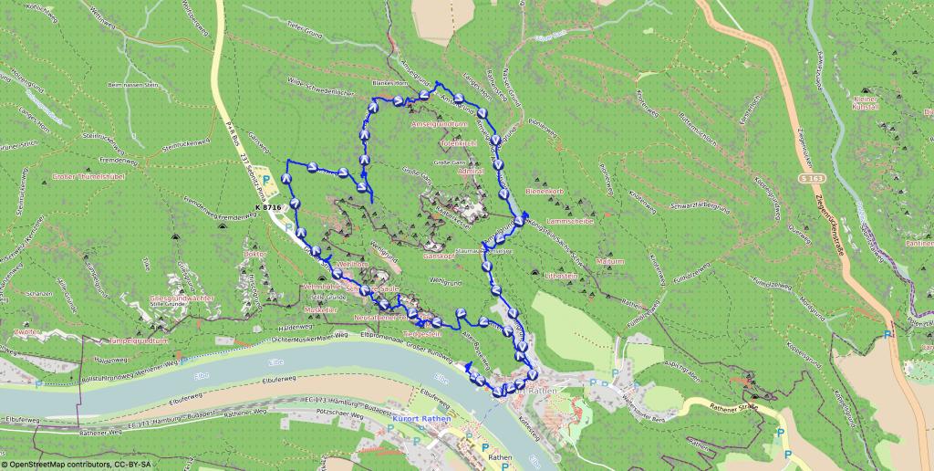 Wanderkarte - Bastei & Schwedenlöcher