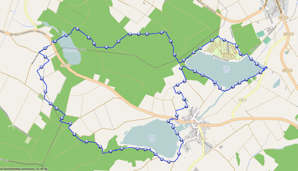 Karte der Drei Seen Tour im Vogelsberg