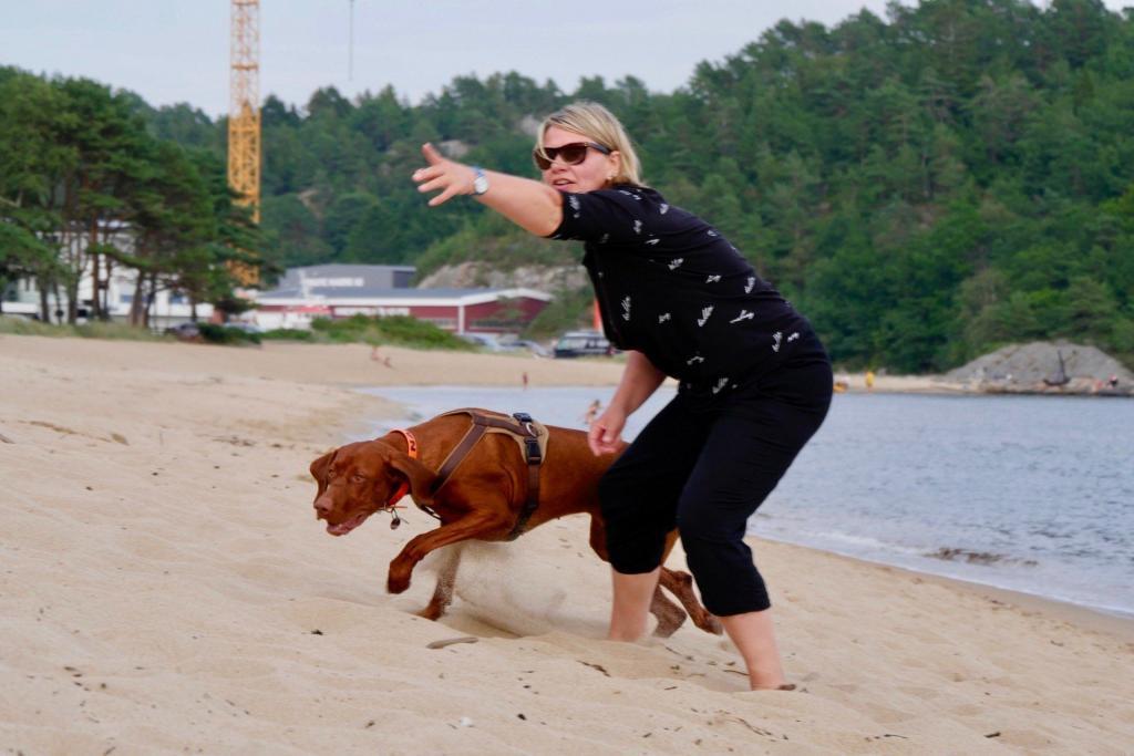 Mit Hund beim Apportiertraining am Strand von Mandal