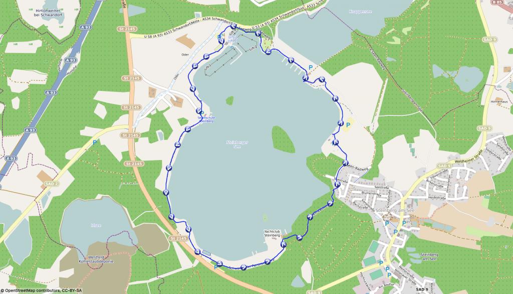 Wanderkarte um den Steinberger See