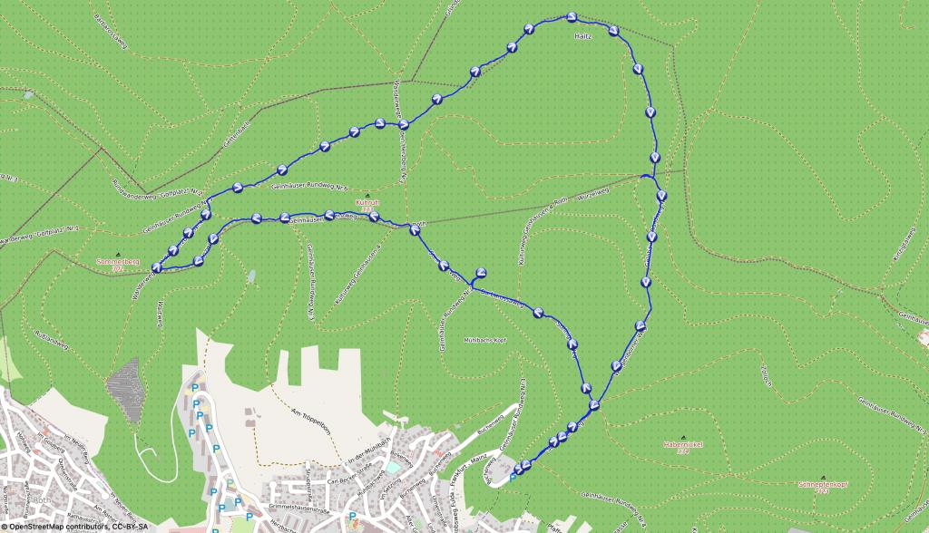 Karte Wanderung Zollhoch in Gelnhausen - Wandern mit Hund