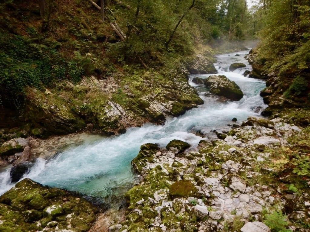 Das kleine Flüsschen Radovna hat sich durch einen harten Stein gegraben.