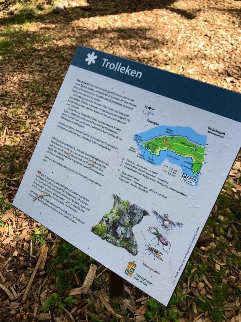 Erklärtafel auf dem Wanderweg in Trollskogen